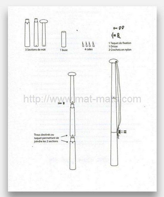 pieces-composant-le-mat-eco-express - mât pour drapeau