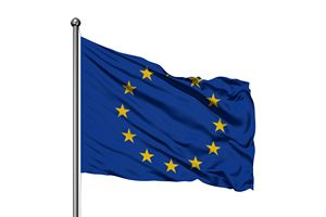 Flag of European Union waving in the wind, isolated white background.