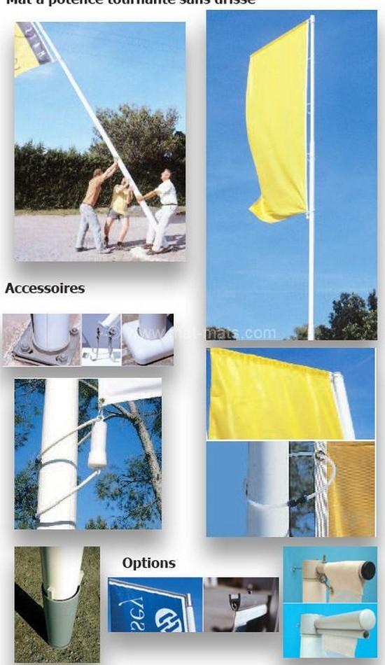mât porte drapeau en fibre de verre résine avec potence sans drisse
