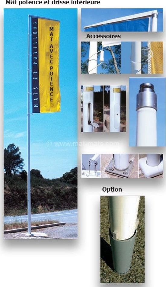 mât porte drapeau en fibre de verre résine avec potence et drisse intérieure