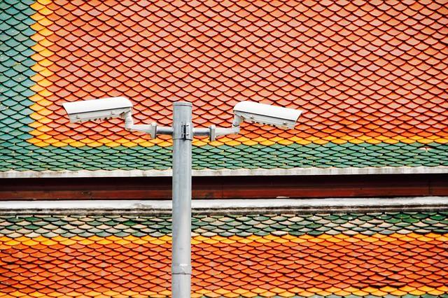 Mât et caméras de surveillance